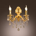 Sculptural Champagne 16'' High Crystal Wall Light Fixture with Strolling Zin Alloy Arm
