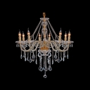 Dizzying Clear Crystal Starnds and Droplets Cascades Gold 8-Light Chandelier