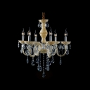 Golden Hand-Cut Rock Crystal Graceful Glass Arms 6-Light Chandelier