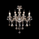 Chocolate Crystal Waterfall 8-Light Classic and Elegant Crystal Chandelier