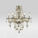 Glittering Clear Crystal Strands and Beads Cascades 6-Light Traditional Style Chandelier