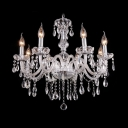 Glittering Crystal Strands and Beads Cascades 6-Light Traditional Style Chandelier