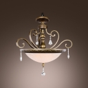 Graceful Metal Curved Arms Frosted Glass Bowl Pendant Light Accented by Crystal Pendaloques
