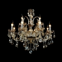 Bold Traditional Style Crystal Chandelier Features Gleaming Curved Arms and Radiant ClearHand-cut Crystal Accents