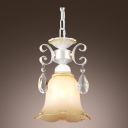 Flower Shaped Glass Shade White Finished Romantic Mini Pendant Light