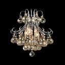 Unmatched Elegance Chrome and Clear Crystal Strands and Spheres Mini Pennant Chandelier