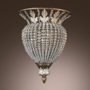 Magnificent Semi Flush Ceiling Light Accented with Strands of Crystal Beads Creates Tradition Look