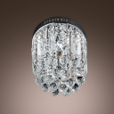 Round Lovely Foyer Light Flush Mount Hanging Small Clear Crystal Globes