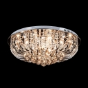 Curving Clear Crystal Prisms Floral Shaped Warm and Lavish Flush Mount