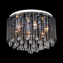 Majestic and Bold Black Shaded Flush Mount Accented by Clear Crystal Drops