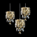 Luxury Champagne Crystal Beads Add Glamour to Stunning Three Light Multi-Light Ceiling Light