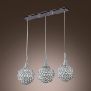 Bright Crystal and  Metal Multi-Light Pendant Light Hanging Three Crystal Beaded Spheres