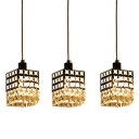 Metal Cube Shade Hanging Glittering Hand Cut Crystal 3-Light Elegant Design Multi-Light Pendant Light