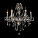 Dark Amber Colored Crystal Strands and Drops Water-falling Luminous and Grand Chandelier