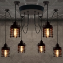 Black Finished Wire Cage Industrial LED Multi Light Pendant