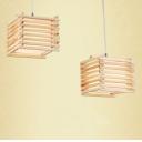 Brilliant Design Wood Cage and Cube Shaped Designer Multi-Light Pendant Light