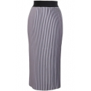 Plain Elastic Waist Leather Pleated Maxi Skirt