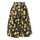 Lovely Cheery Print Elastic Waist Midi Skirt