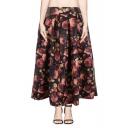 Camellia Print PU Elastic Waist Pleated Midi Skirt