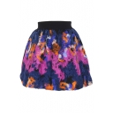 Bright Color Wool Print Elastic Waist Skirt