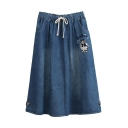 Bear Letter Embroidered Elastic Waist Buttons Skirt