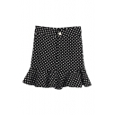 Cute Mermaid Hem Polka Dot Bodycon Skirt