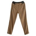 Classic Checker Pattern Mori Girl Style Elastic Waist Pants