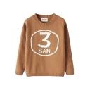 3 Print Ribbed Knitting Round Neck Trendy Sweater