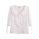 Ruffled Trim Ruched Detail 1/2 Sleeve Cute Style White Shirt