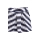 Navy/White Stripe Pleated Elastic Pencil Skirt