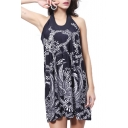 Paisley Print Vintage Round Neck Sleeveless Mini Column Black Beach Dress