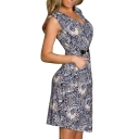 Leopard Print Fitted V-Neck Dress with Belt