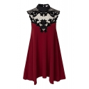 Burgundy High Neck Floral Pattern Ruffle Hem Dress