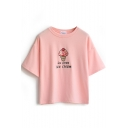 Embroidered Letter Ice Cream Short Sleeve Tee