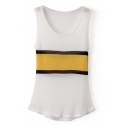 Round Neck Striped Color Block Knitting Tanks with Asymmetrical Hem