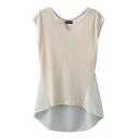 Beige Plain Round Neck Chiffon Insert Bow Back Blouse