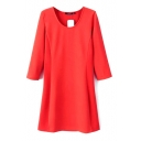 3/4 Sleeve Round Neck Plain Seam Detail Basic Dress