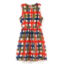 Plaid Print Round Neck Gathered Waist Dress