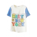 Cream 3D Colorful Cartoon Letters T-Shirt