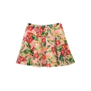 Pink High Waist Floral Print Pleated Skirt
