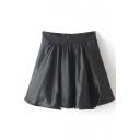 Black Pleated Ruffle Hem Elastic Waist Skirt