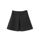Black Plain High Waist A-Line Skirt