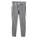 Striped Print Elastic Skinny Pants with Pocket