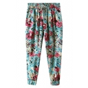 Red Rose Print Elastic Waist Harem Pants
