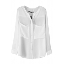 White Plain Long Sleeve Pockets Chiffon Blouse