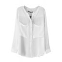 White Plain Long Sleeve Pockets Chiffon Blouse