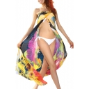 Colorful Floral Print Sexy Sheer Sarong