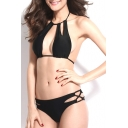 Black Halter Cutout Crisscross Bikini Bottom Bikini Set