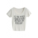 White Short Sleeve Letters Slim Knitting Sweater