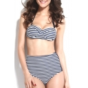 Stripe Print Halter Tie Back High Waist Bikini Set